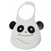【佳兒園婦幼館】Creative Baby 可收納式攜帶防水無毒矽膠學習圍兜-經典熊貓