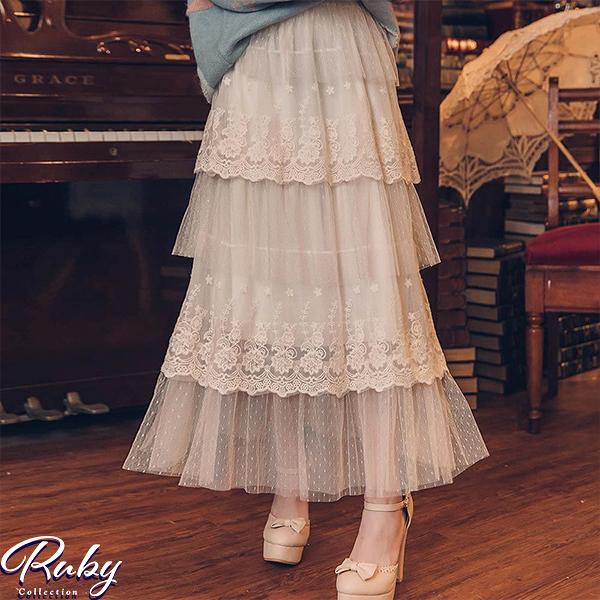 【NG現貨】蕾絲層次蛋糕鬆緊紗裙長裙-Ruby s 露比午茶