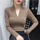蕾絲上衣 蕾絲打底衫女長袖內搭小衫收腰洋氣2021秋冬新款緊身網紗上衣 維多原創