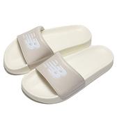 NEW BALANCE 拖鞋 奶油色 大LOGO 韓系 海綿 運動 休閒 男女 (布魯克林) SD1101IBE