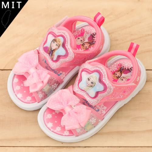 女童 冰雪奇緣 FROZEN 艾莎 安娜 甜美緞帶鍊 電燈涼鞋 正版售權 59鞋廊