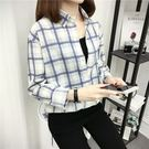 DE SHOP-(T-1745)打底清新寬鬆襯衣休閒長袖格子棉麻長袖襯衫