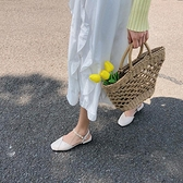 包頭涼鞋女2021夏季新款韓版百搭仙女風平底方頭一字扣帶羅馬鞋女 夢幻小鎮