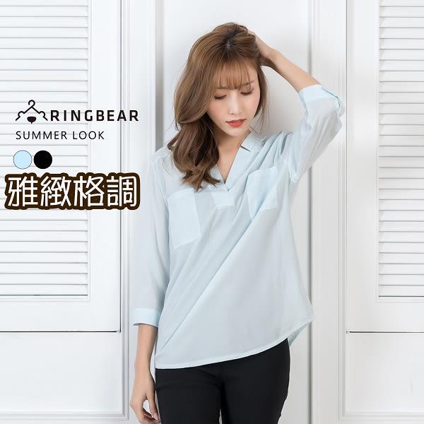 襯衫--氣質優雅系V式立領開襟前短後長下襬雪紡七分袖上衣(黑.藍L-3L)-H174眼圈熊中大尺碼