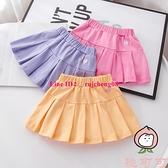 女童假兩件百褶裙兒童純棉褲裙帶安全褲薄款柔軟半身裙子短裙【桃可可服飾】