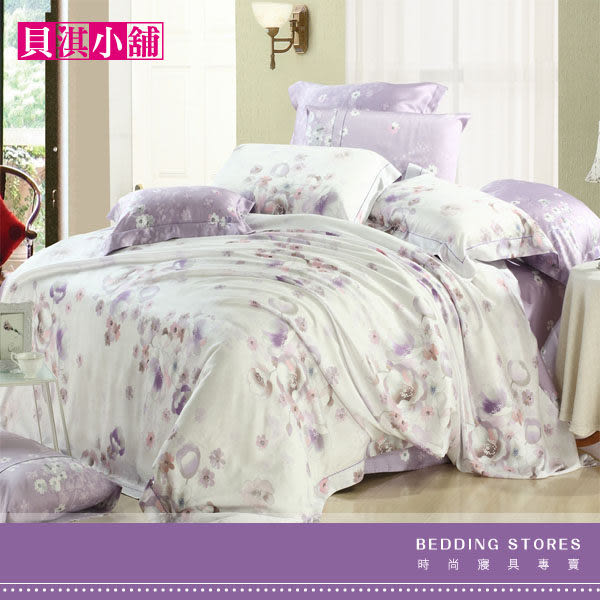 【貝淇小舖】TENCEL 頂級100%天絲【薔薇之戀紫】週年慶.加大床包兩用被四件組/可包覆35cm