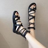 涼鞋女 2021夏季新款時裝羅馬高筒涼鞋女仙女風平底交叉帶學生百搭ins潮【快速出貨】