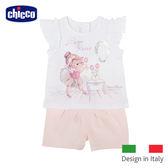 chicco-玫瑰公主荷葉小蓋袖上衣+短褲