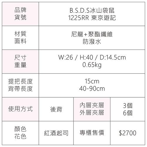B.S.D.S冰山袋鼠 - 東京遊記 - 慢活度假風防潑水插袋後背包 - 紅酒起司【1225RR】