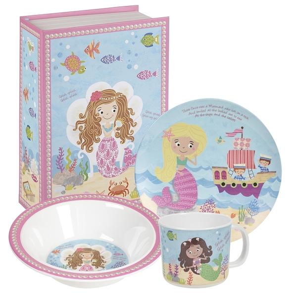 英國Churchill Queens系列兒童美耐皿3件餐具禮盒組(小美人魚)