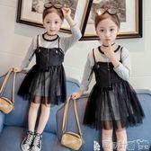 女童吊帶裙洋裝 女童連身裙條紋長袖t恤黑色牛仔拼接吊帶寶寶裙 寶貝計畫