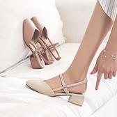 包頭粗跟涼鞋女2021夏季新款方頭中跟仙女風一字扣帶百搭中空女鞋