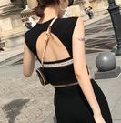 花花韓版2020夏季新款修身短款無袖小心機t恤女背心漏後背上衣潮 陽光好物