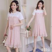 優雅氣質清新時尚孕婦連身裙新款韓版假兩件蕾絲拼接短袖連身裙 CJ3474『美好時光』