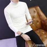秋冬男士韓版修身毛衣純色加厚高領針織衫套頭打底衫男生潮線衣  潮流前線