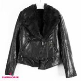 【SHOWCASE】時尚翻領內刷毛軍裝風PU皮外套(黑)