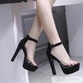 恨天高模特女鞋14cm/15cm超高跟涼鞋粗跟舞台演出鞋走秀黑色車模 韓慕精品