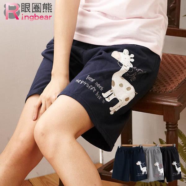 短褲--長頸鹿貼布素面棉質短褲(黑.灰.藍2L-4L)-R92眼圈熊中大尺碼