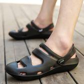 夏季包頭涼鞋全黑色潮學生男拖塑料塑膠 KB2337【野之旅】