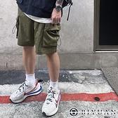 【OBIYUAN】工裝短褲 韓國製 素面 立體大口袋 抽繩 五分褲 休閒褲 共4色【Z96003】