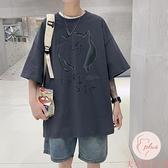 大碼加大印花T恤男短袖上衣夏季胖子大碼休閑【大碼百分百】
