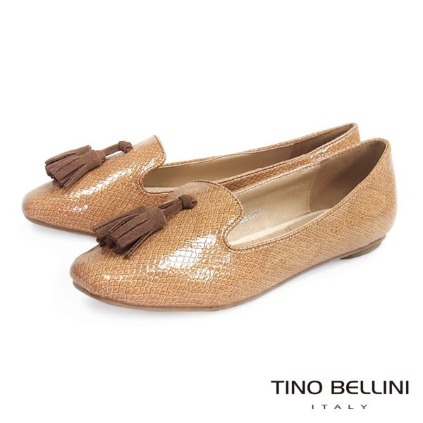 ★零碼出清★Tino Bellini 漆皮蛇紋佐流蘇小方頭樂福鞋(棕) IN1117 網路限定價