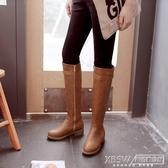 長靴女單靴英倫風秋冬新款粗跟平底加絨高筒騎士靴女長筒馬靴軍靴『新佰數位屋』