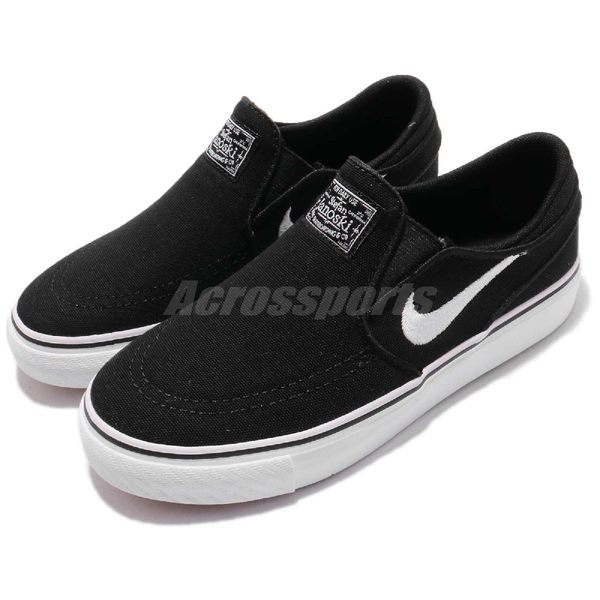 Nike 滑板鞋 SB Stefan Janoski CNVS Slip PS 黑 白 帆布休閒鞋 無鞋帶 童鞋 中童鞋【PUMP306】 882989-002