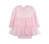公主裙擺長袖包屁裙 粉   韓版網紗   女寶寶洋裝(嬰幼兒/兒童/小孩)