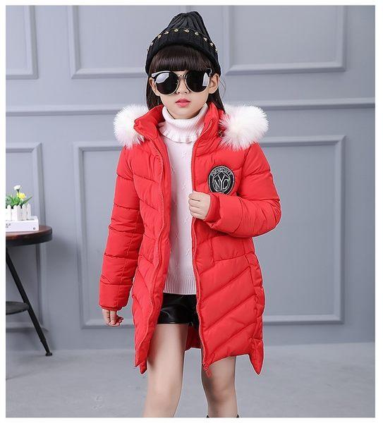 衣童趣♥韓版 暢銷熱賣款 中小女童 秋冬長版 羽絨外套 可愛毛毛帽子 甜美款保暖外套