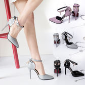 灰色百搭涼鞋女鞋包頭中空裸色蝴蝶結女士高跟鞋東京戀歌