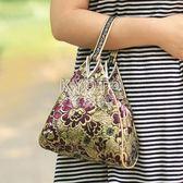 手提包 女士碎花手挽包時尚提包三角包女士小包休閒包手拎買菜包隨手 京都3C