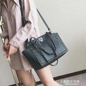 鉚釘手提單肩包女包休閒購物袋大包包歐美時尚翅膀蝙蝠包 東京衣秀