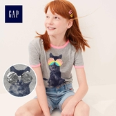 Gap女童 休閒印花圓領短袖T恤 467697-麻灰色