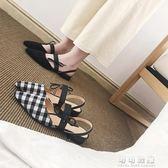 女鞋外穿格子瑪麗珍鞋平底鞋百搭低跟涼鞋平跟鞋子 可可鞋櫃