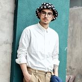長袖襯衫-純白經典簡約休閒百搭男上衣2色73po3[巴黎精品]