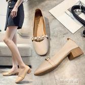春秋韓版百搭方頭瑪麗珍單鞋粗跟復古奶奶鞋平底豆豆鞋女 可可鞋櫃