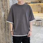 棉麻衣 夏季嘻哈五分袖薄t恤男士百搭帥氣運動短袖韓版潮流純色休閒上衣