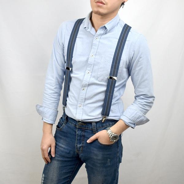 吊帶 時髦黑藍線條單扣NKD41