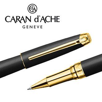CARAN d'ACHE 瑞士卡達 LEMAN 利曼霧黑漆鋼珠筆(金夾) / 支