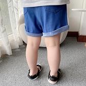 男童牛仔短褲 男童褲子正韓洋氣針織褲牛仔短褲外穿小童彈力寬鬆卷邊休閒褲子潮-Ballet朵朵