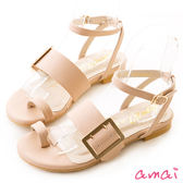 amai指環寬版皮帶一字平底涼鞋 粉