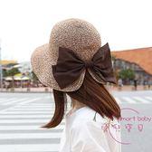遮陽帽 韓國時尚優雅大氣蝴蝶結開叉草帽遮陽帽子女士度假防曬夏天太陽帽