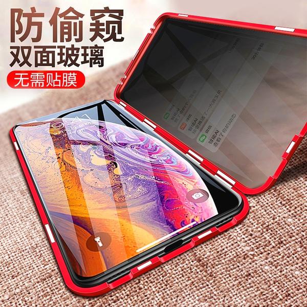 iPhone 6 6S Plus 防偷窺雙面玻璃 手機殼 透明全包防摔金屬殼 磁吸萬磁王 金屬邊框 保護套 iPhone6 i6