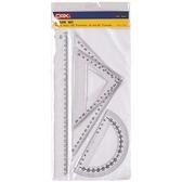 【三燕 COX 三角板組】三燕COX 460 塑膠尺組/三角尺/量角器 (三角板/直尺/半圓)