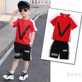 套裝童裝男童夏裝套裝2019新品洋氣兒童夏季短袖男孩帥氣韓版兩件式套裝潮