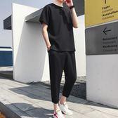 夏季休閒套裝男青少年韓版潮流圓領短袖九分褲純色學生運動兩件套   麥吉良品