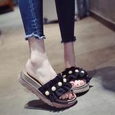 厚底拖鞋 女夏2018新款韓版時尚松糕一字拖珍珠沙灘涼拖鞋 GY617『寶貝兒童裝』