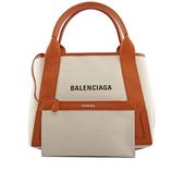【BALENCIAGA】NAVY CABAS 帆布手提包/子母包(米白/焦糖)S 339933 AQ38N 2381