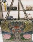■現貨在台■專櫃66折■ Gucci 全新真品 4033489 Dionysus 限量水晶祥獅芙蓉蛇皮拼接酒神包